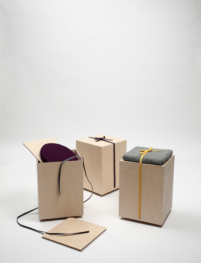 Hako is a wooden stool designed by Japanese designer Yukari Hotta
