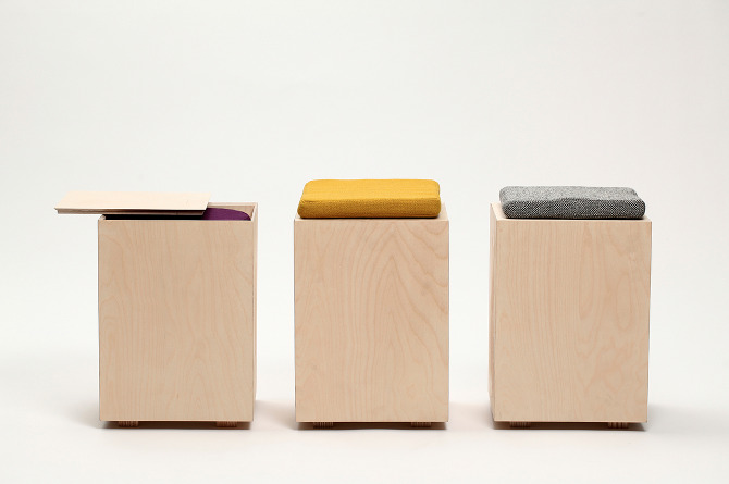 Hako is a wooden stool designed by Japanese designer Yukari Hotta.