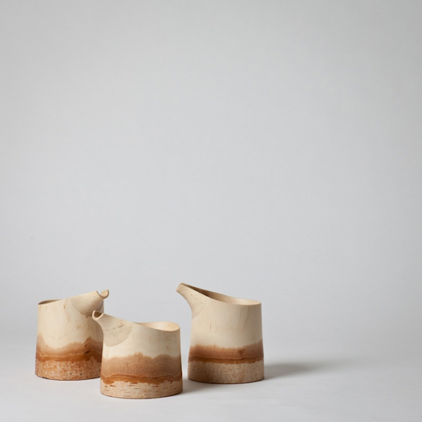 Birch sake pot hand made by the Japanese designer Kota Fukunaga
