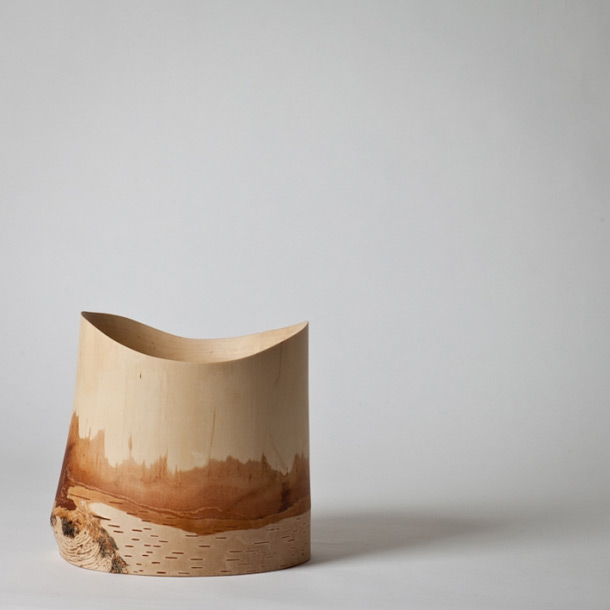 Birch wine cooler hand made by the Japanese designer Kota Fukunaga