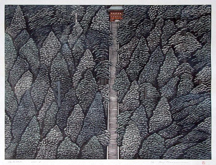 Shiogama-Shrine - Ray Morimura woodblock print