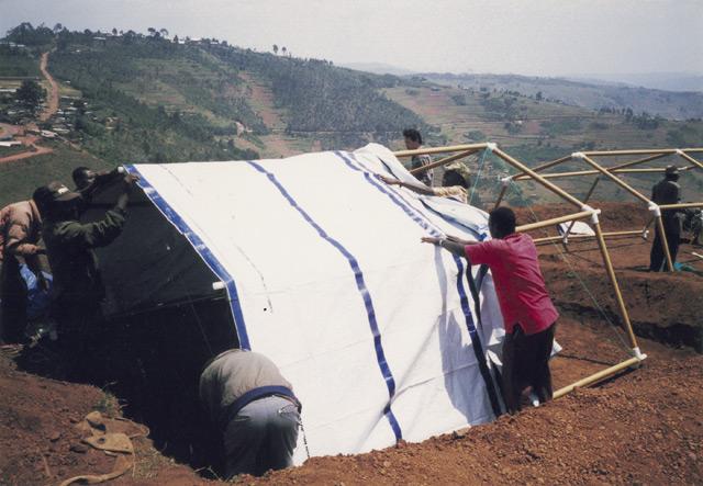 Paper Refugee Shelters for Rwanda, 1999, Byumba Refugee Camp, Rwanda