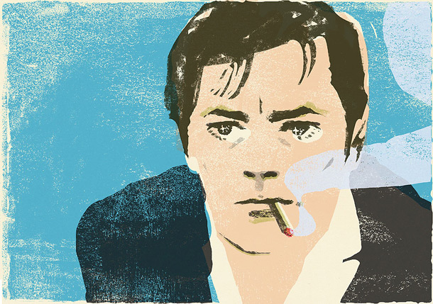 Portrait of Alain Delon, illustration by japanese illustrator Tatsuro Kiuchi