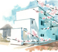 The House reflecting Ripples by Kichi Architectural Design - illustration by Magdalena Dymańska