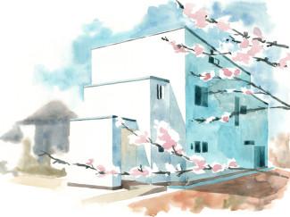 The House reflecting Ripples by Kichi Architectural Design - illustration by Magdalena Dymańska