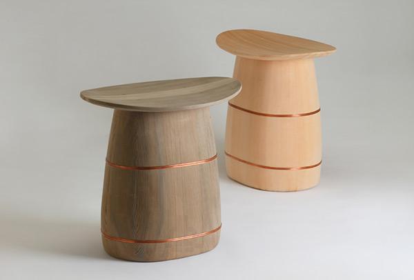 Ki-oke Stools designed by Nakagawa Mokkougei